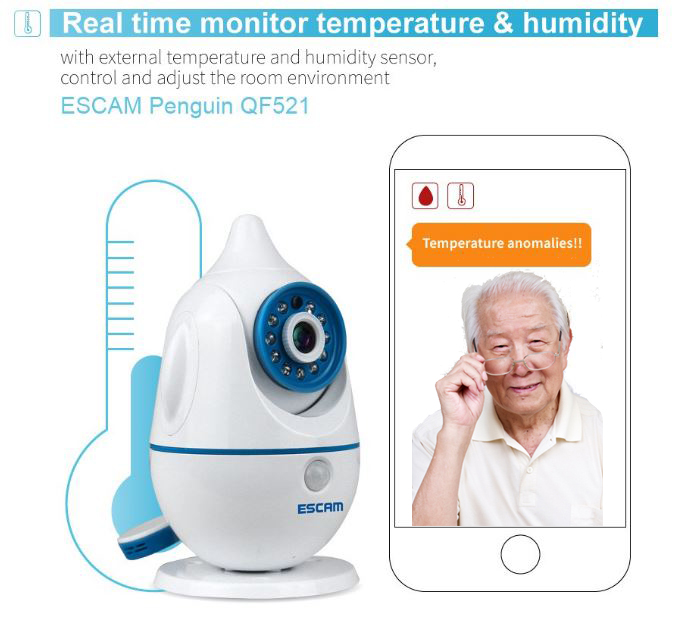 iPenguin - Elderly Safety Monitor IP Camera CCTV - Real Time Monitor Temperature & Humidity