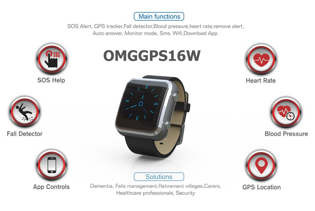 3G/4G GPS Tracker Watch with Fall Detection, Blood Pressure & Heart Rate Monitoring for Elderly OMGGPS16W